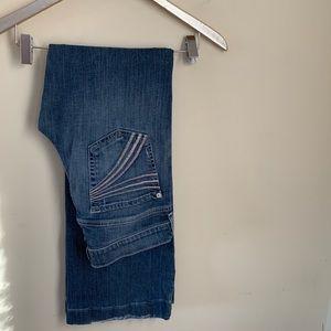 7FAMK Dojo bootcut jeans silver purple stitched 27